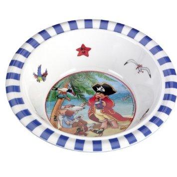 Μπολ φαγητού Capt'n Sharky της εταιρείας Spiegelburg ασφαλές για παιδιά και ανθεκτικό μελαμίνη το ξύλινο αλογάκι παιδικό σερβίτσιο φαγητού αγόρι πειρατής