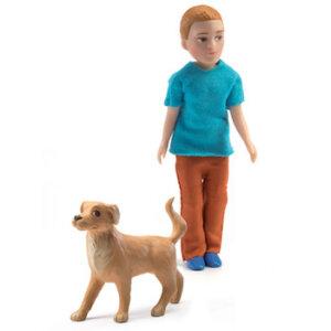 Djeco Σετ κουκλόσπιτου μπαμπάς με σκύλο 'Xavier', djeco, dj 07807, kouklospito, figoures gia kouklospito