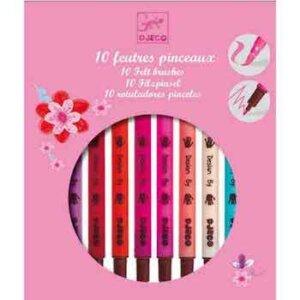 Djeco Μαρκαδόροι σχεδίων για κορίτσια (10 τεμάχια), dj 08802, markadoroi diplis opsis, brushes, markers, djeco