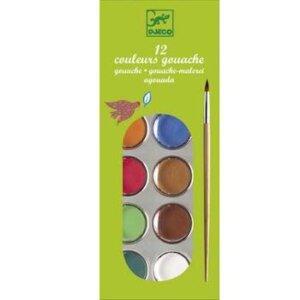 Djeco Σχεδίων νερομπογιές με 12 χρώματα, djeco, dj 08803, the colours, gouache, 12 colours, nerompogies,