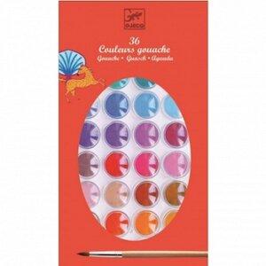 Djeco Σχεδίων νερομπογιές με 36 χρώματα, djeco, dj 08873, the colours, gouache, 36 colours, nerompogies,
