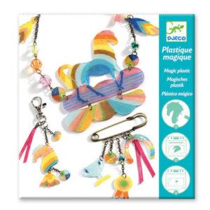 Djeco ζωγραφίζω δυο κολιέ 'Ουράνιο τόξο και άλογο', dj 09496, magic plastic, jewelry,