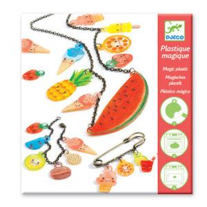Djeco ζωγραφιζω δυο κολιε 'Γλυκά και Φρούτα', dj 09497, jewelry, plastic magic, djeco, kallitexnika
