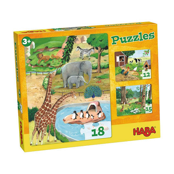 Haba Τρία παζλ με ζωάκια (18 τμχ), haba, haba 4960, pazl, παζλ, παιδικά παζλ, παζλ για παιδιά, pazl, puzzle, puzzles, παιχνίδια με παζλ, παζλ games, παζλ για κορίτσια, παζλ για παιδιά, παιδικά παιχνίδια, δώρα, δώρο, επιτραπέζια, παιχνίδια για κορίτσια, παιχνίδια για αγόρια