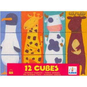 Djeco Κύβοι κατασκευής '12 ζωάκια', dj 08208, djeco, color animals, 12 cubes, toyvlakia me figures, djeco