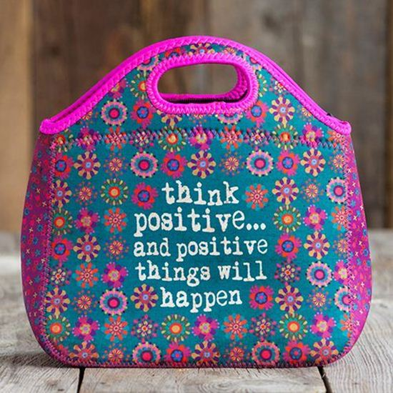 "1695b39eaff Τσαντάκι φαγητού Natural Life ""Think positive and positive things will  happen"""