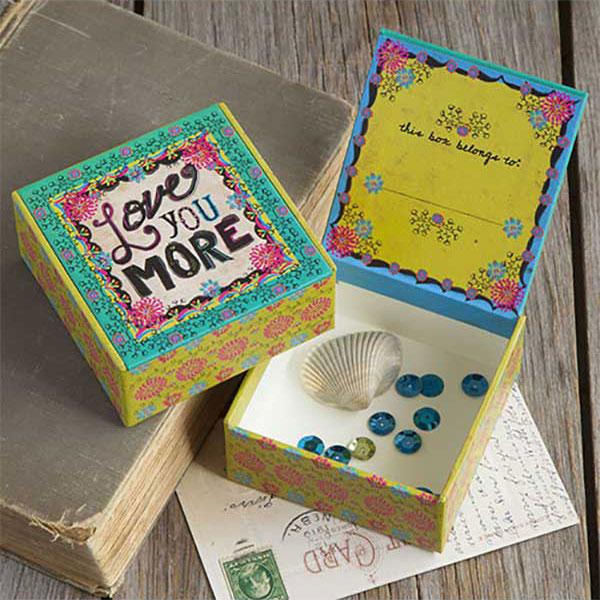 Natural Life Χάρτινο κουτί μικρό Love you more, διακόσμηση, κουτιά, κουτια, κουτί, κοσμηματοθήκη, μπιζουτιερα, mpizoutiera, mpizoutieres, δωρα για την μαμα, οργανωση κοσμηματων, natural life, natural life greece, CBX013