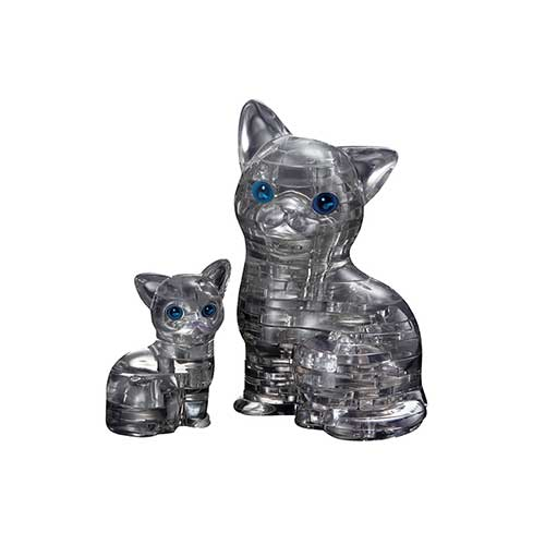 Crystal Puzzle Cat & Kitten Black 3D