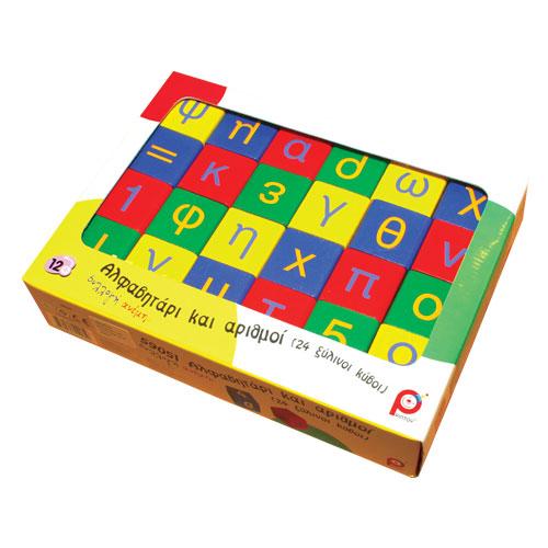 Pin Toys Ξύλινοι Κύβοι Αλφάβητο & Αριθμητικές Πράξεις
