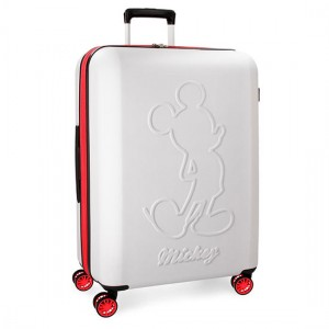 Disney Mickey Βαλίτσα Καμπίνας Trolley 68cm Λευκό 77Lt 3428862