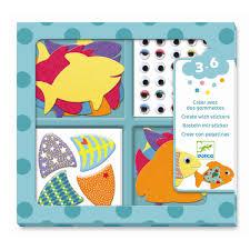 αγαπω ψαρακια djeco, djeco αγαπω ψαρακια, καλλιτεχνικα djeco ψαρακια, δημιουργω ψαρακια με αυτοκολλητα και τσοχα, τσοχινα ψαρακια,