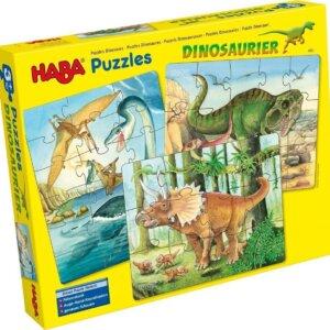 Το κουτί περιέχει 3 παζλ με 12 / 15 / και 18 τμχ. με θέμα τους δεινόσαυρους από την βραβευμένη εταιρεία Haba. Διαστάσεις για κάθε παζλ : 20 x 25 εκ. Ηλικία +3