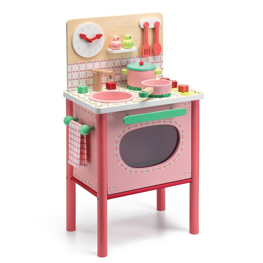 Ξυλινη ροζ κουζινα Djeco