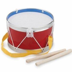 Τύμπανο με υφασμάτινη μεμβράνη για τους μικρούς τυμπανιστές. Ένα μουσικό όργανο που εισάγει το παιδί στο κόσμο της μουσικής και με το οποίο μπορεί να βελτιώσει τις κινήσεις και τα αντανακλαστικά των χεριών. Δώστε ρυθμό στην ορχήστρα με ιμάντα ανάρτησης και ξύλινες μπακέτες. Από τη συλλογή Ανέμη. Διάμετρος 22 εκ.   Ηλικία 3+