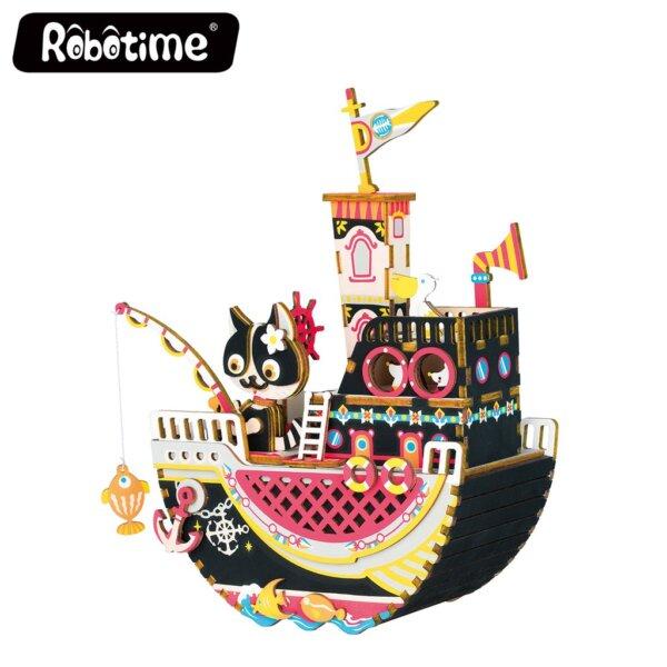 Robotime DIY Music Box Fishing Kitty Κωδ. AMD42