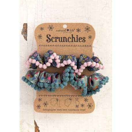Natural Life - Λαστιχάκια Μαλλιών -Pom Pom Scrunchie Blue Ditsy/Sage NL-55849