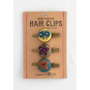 Natural Life - Κεντημένα Hair Clips Σετ - Yellow NL-56246