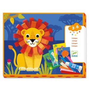 Djeco Κολάζ με χάρτινες λωρίδες - θηλιές 'Λιοντάρι και ζωάκια' Κωδικός: 09868