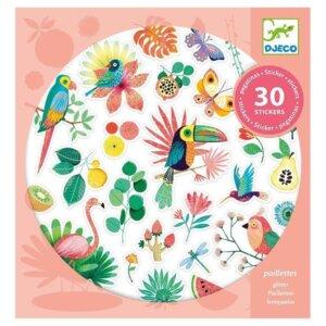 Djeco 30 Αυτοκόλλητα με γκλίτερ 'Παραδείσια πουλιά' Κωδικός: 09260