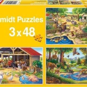 SCHMIDT PUZZLE - Τα Αγαπημένα μου Ζώα - Τμχ. (3 x 48) S56203