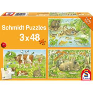 SCHMIDT PUZZLE - Οικογένειες Ζώων - Τμχ. (3 x 48) S56222