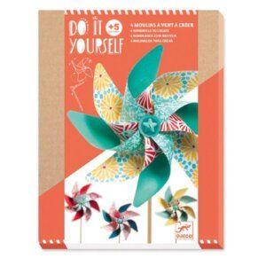 Djeco DIY Φτιάχνω - Ανεμόμυλο 'Μοτίβα λουλουδιών' 4 τεμ. Κωδικός: 07920