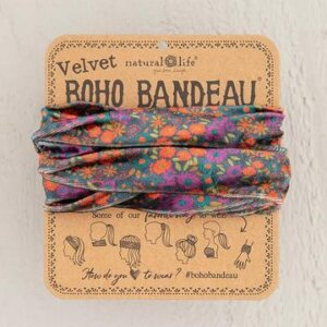 ORANGE GREY FLORAL VELVET BOHO BANDEAU® 56799