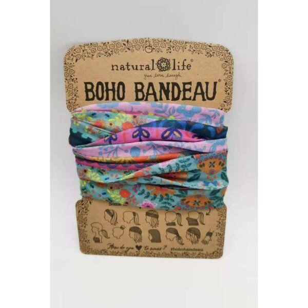 Boho Bandeau Blue/Pink Borders - NATURAL LIFE 58941