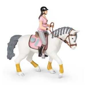 Papo Φιγούρα 'Braided Mane Horse with Trendy Riding Girl Pink 51525/52006